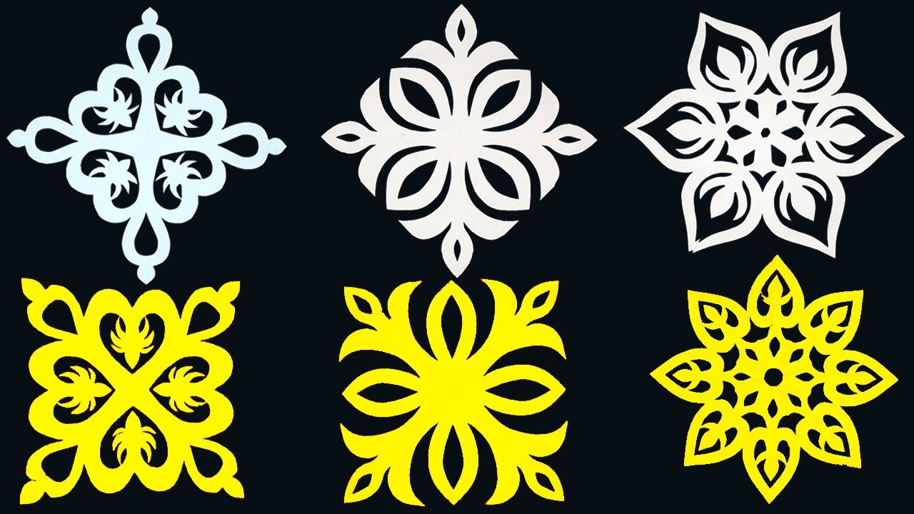 3 Paper Cutting Design for wall decoration-How to make  Beautiful Paper cutting Design step by step