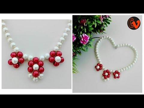 How to make pearl necklace at home / Jewellery Making