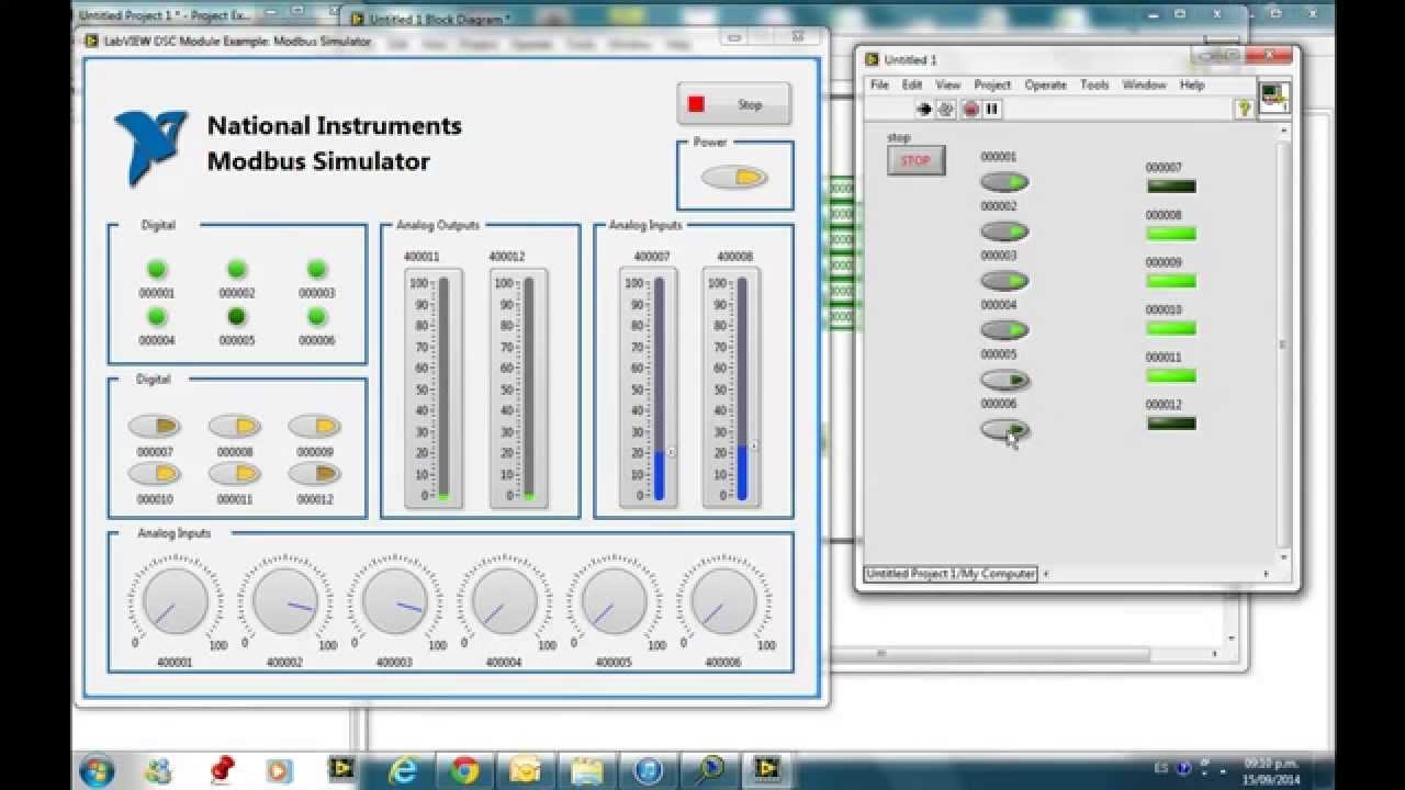 Modbus simulator with LabVIEW