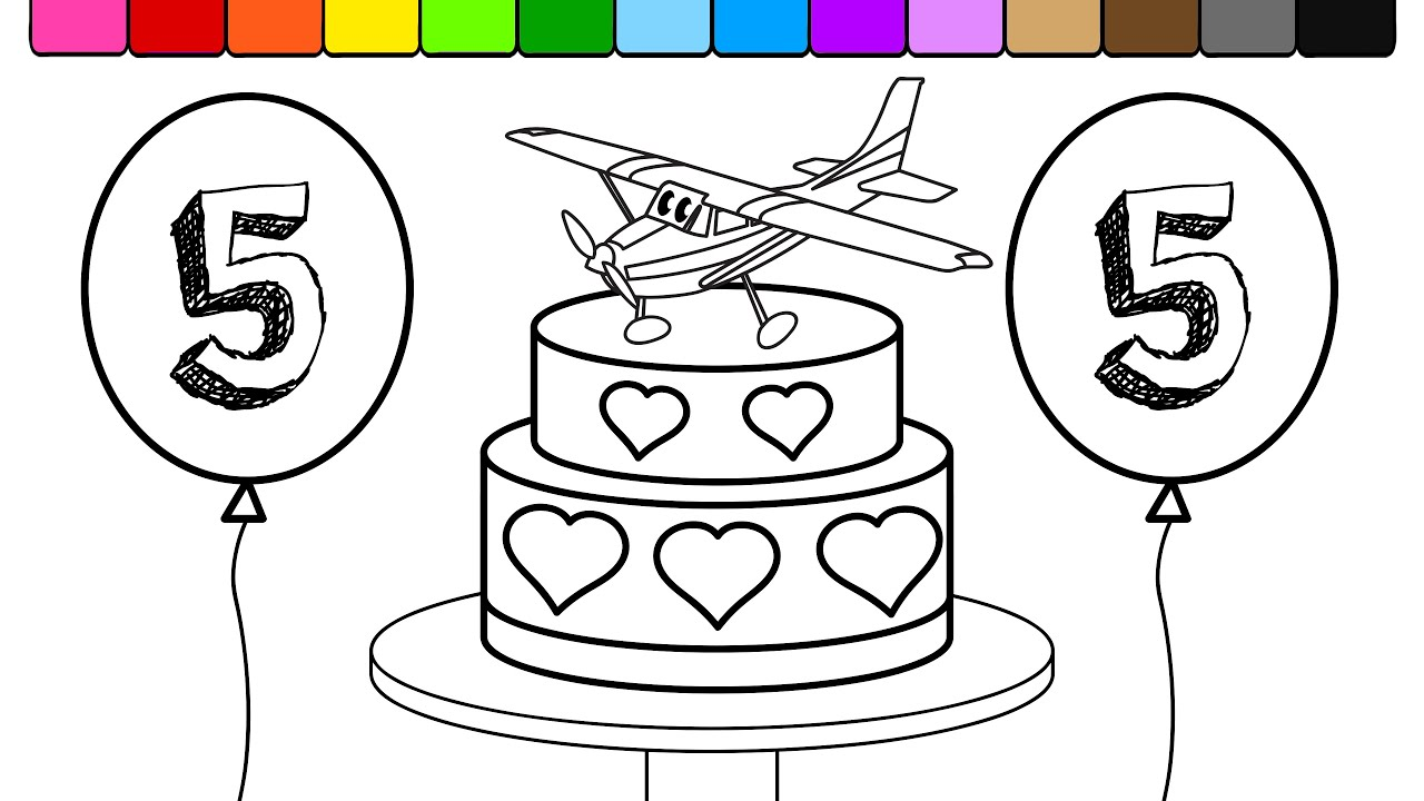 Coloring pages birthday cake - Learn Colors And Color Airplane Birthday Cake Balloons 5 Coloring Page Youtube