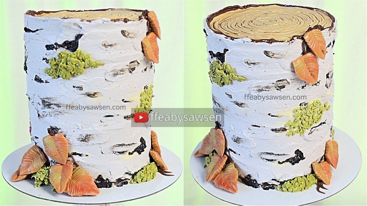 All buttercream birch tree stump cake decorating tutorial - relaxing ...