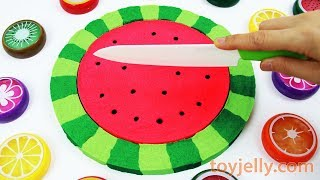 Making Kinetic Sand Cake Watermelon Mad Matter Skwooshi How to make DIY Learn Colors for kids