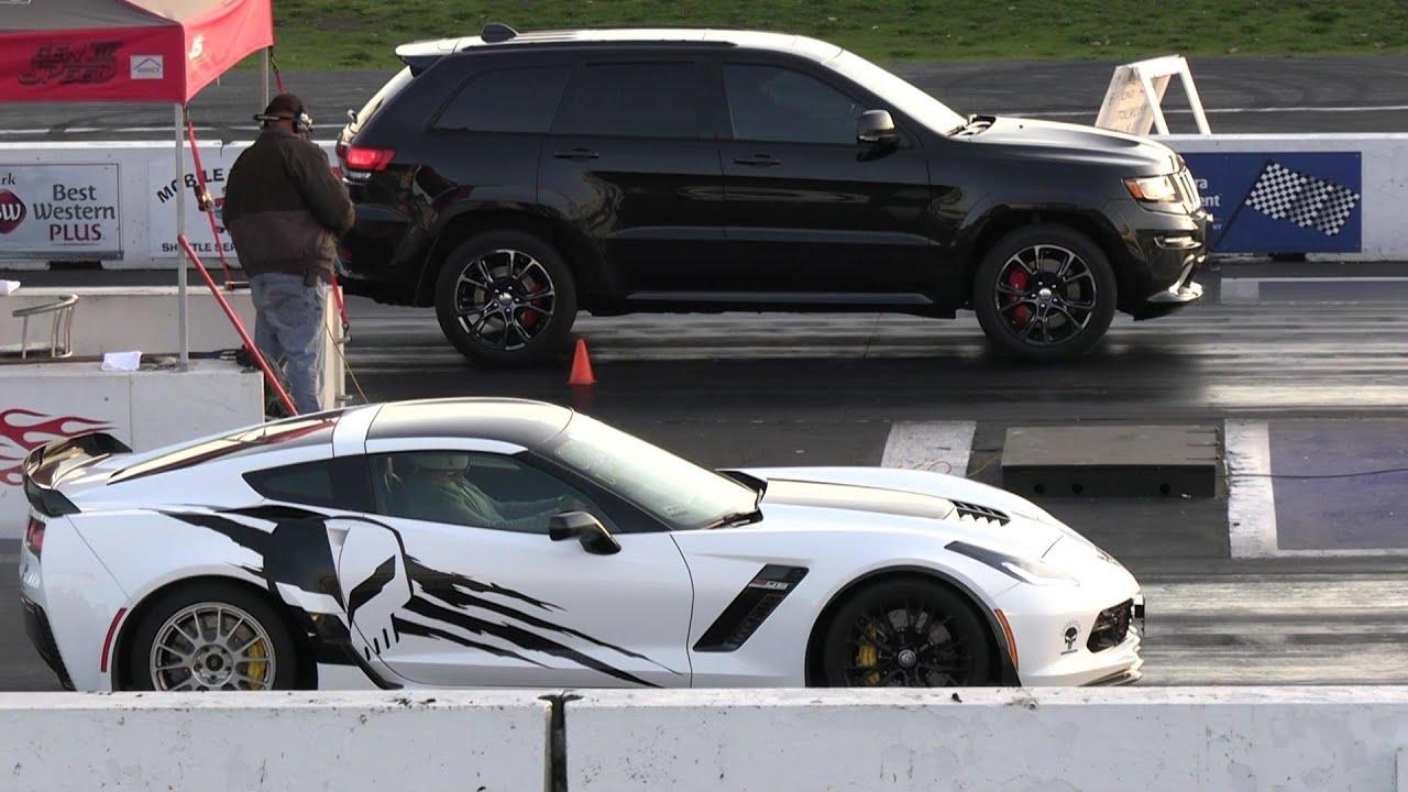 Jeep Srt Vs Corvette Zo6 Drag Race Youtube