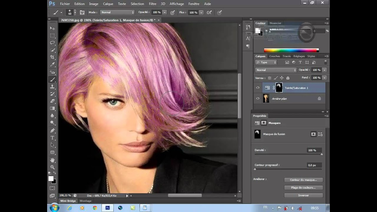 comment changer la couleur des cheveux : adobe photoshop cs6 - YouTube