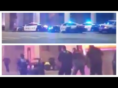 Heavy gun fire and shooting on the streets in downtown dallas