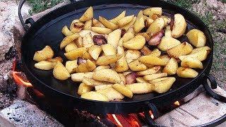 Жаренная картошка с луком на костре, мой первый опыт
