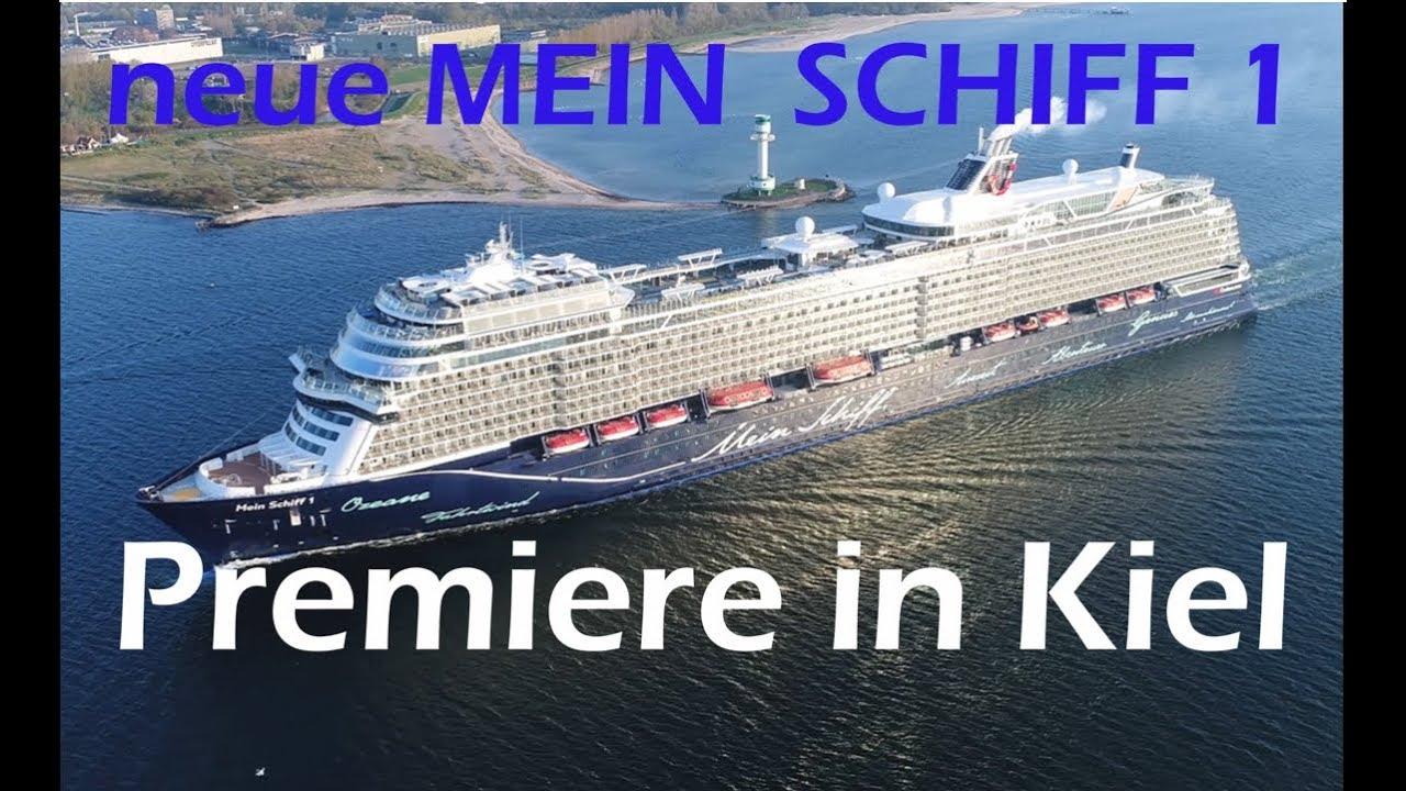 4K | Premiere Neue MEIN SCHIFF 1 ( 2018 ) Erstanlauf mit Luftaufnahmen in Kiel