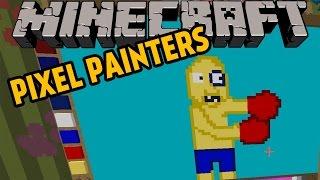 minecraft   nakna boxare   pixel painters minigame p svenska med figgehn whippit
