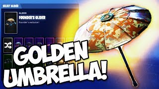 *RAREST SKIN* HOW TO GET THE GOLDEN UMBRELLA *FOUNDERS PACK* (Fortnite Battle Royale)