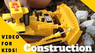 CONSTRUCTION TRUCK VIDEO For Kids - Dirt, BIG ROCKS, Toys, TRUCKS, Diggers!