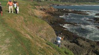Ryuji Imada saves par from side of hill at AT&T Pebble Beach