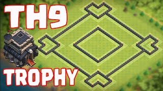 "Clash of Clans Town Hall 9 (CoC TH9) TROPHY BASE ""FOUR HEART"" 