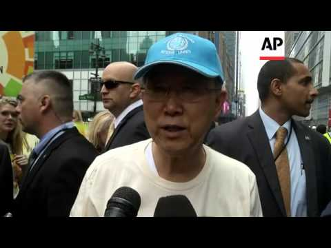 UN secretary general takes part in mass march over climate change