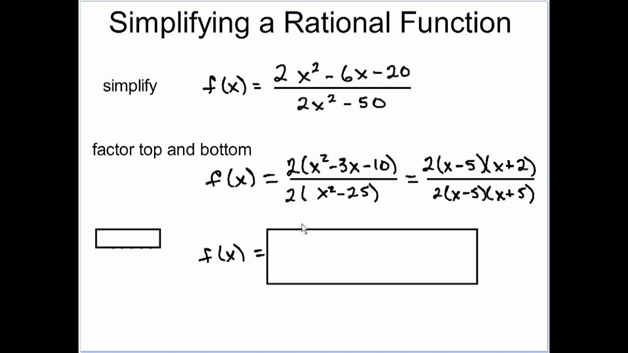 Simplifying Rational Functions - YouTube
