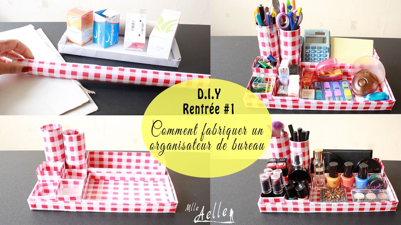diy rentr e 1 fabriquer un organisateur de bureau youtube. Black Bedroom Furniture Sets. Home Design Ideas