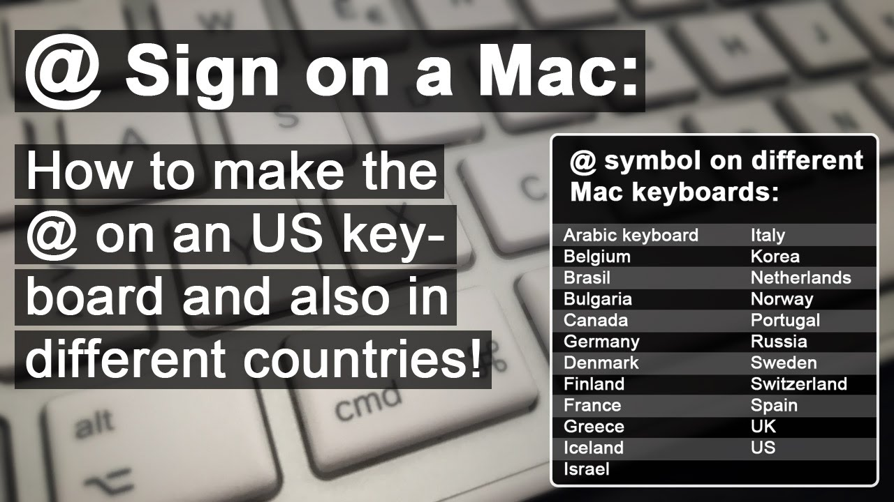 At Sign On A Mac How To Make The Youtube