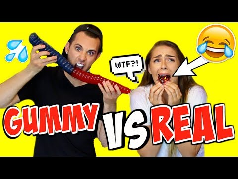 Download Youtube: Gummy Food vs. Real Food Challenge! *EATING GIANT WORMS!!* EWH!!