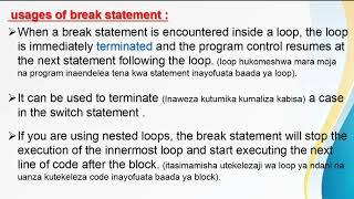 Jump Statements in C   Break Statement (KISWAHILI)