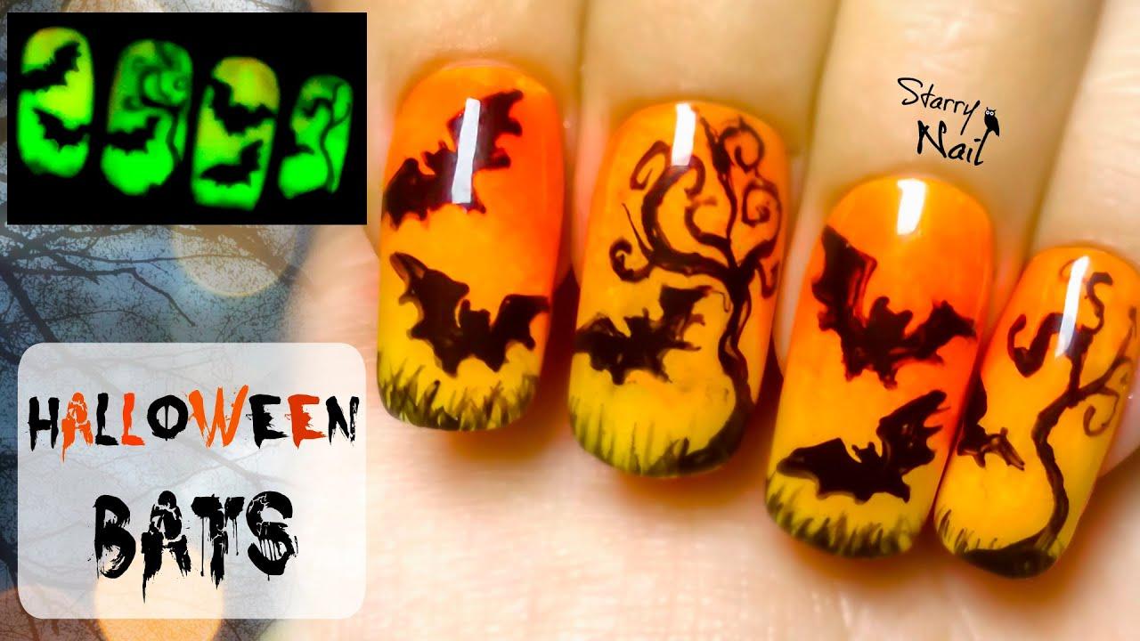 Easy Halloween Bats Glow in the Dark Freehand Nail Art Tutorial ...