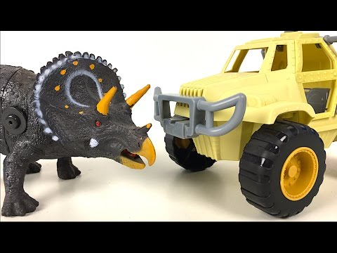 ADVENTURE WHEELS DINOSAUR EXPLORER TRICERATOPS AND OFF ROAD VEHICLE & TRAILER RESEARCHER - UNBOXING