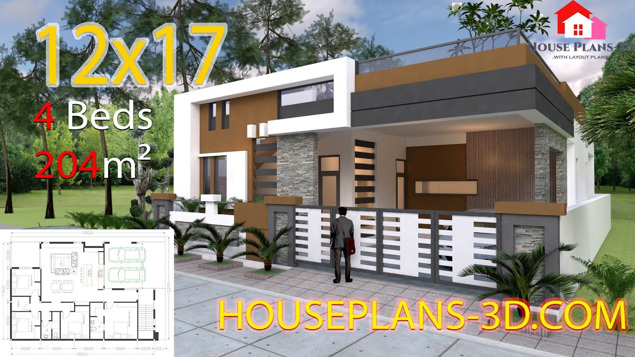 House Plan 40x60 4 Bedrooms One Story House Exterior