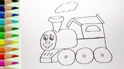 Belajar Menggambar Mainan Kereta Api Dan Mewarnai Dengan Spidol