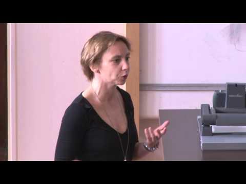 Professor Stefanie Petermichl speaking at the LMS/EMS Anniversary Mathematical Weekend 2015