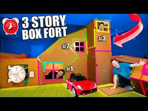 WORLDS BIGGEST 3 STORY BOX FORT! Secret Rooms, Gaming Room (24 Hour Challenge)