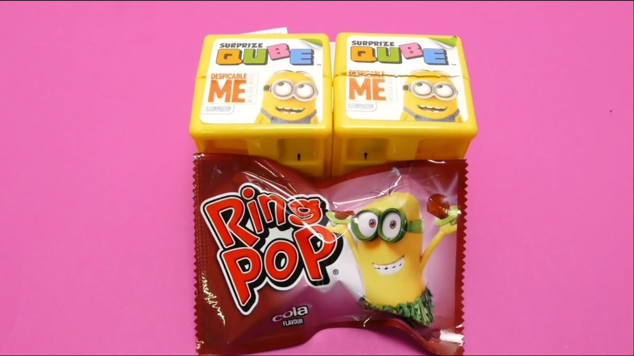 minions surprise cubes amp minion ring pop candy youtube