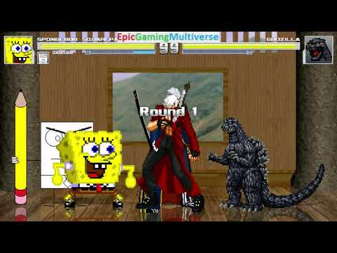 Devil May Cry Characters And DoodleBob And SpongeBob VS Godzilla In A MUGEN Match / Battle / Fight
