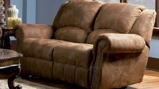 Distressed Leather Loveseat