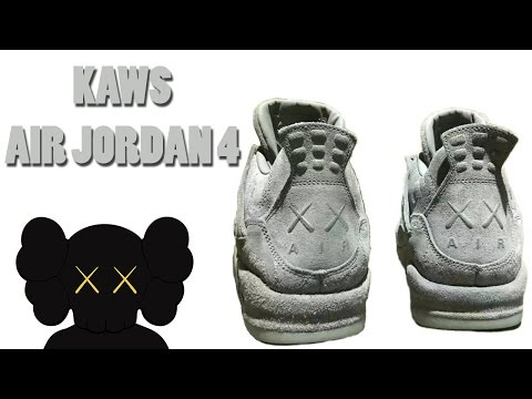 Air Jordan 4 IV Retro KAWS x SZ 9.5 Cool Grey Suede Glow In Dark 930155-003