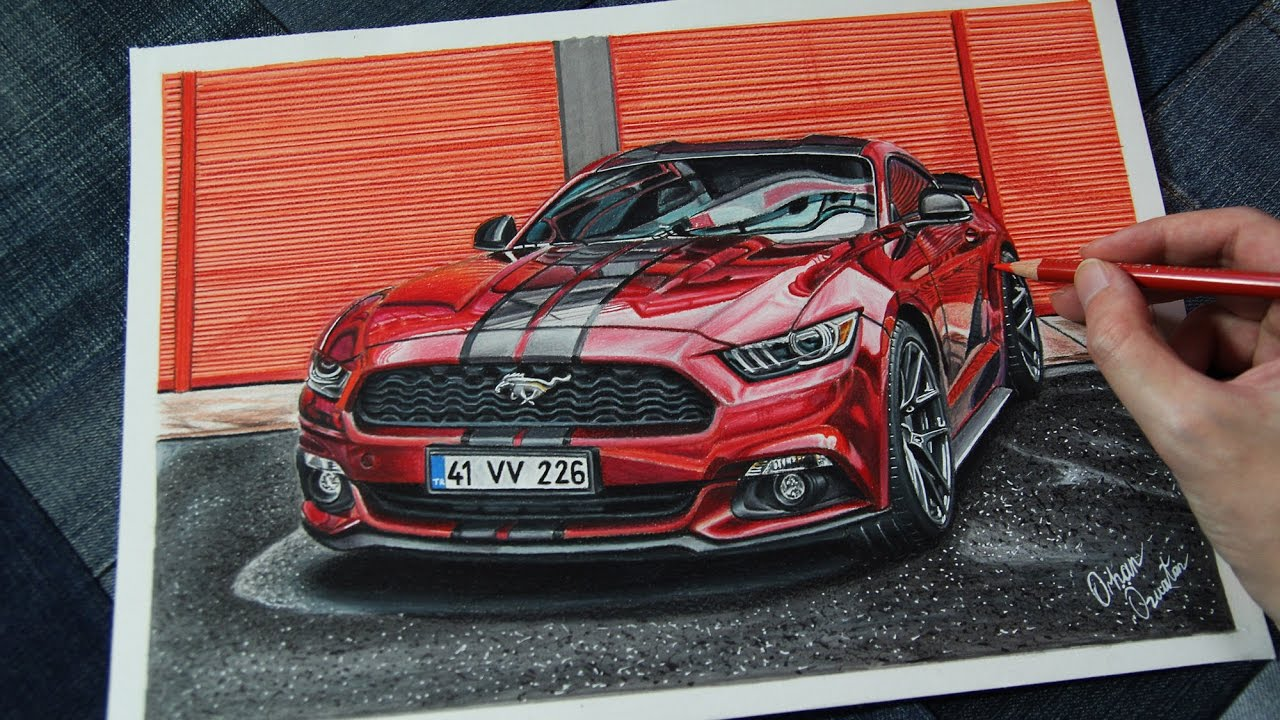 Ford Mustang Ruby Red Realistic Car Drawing Youtube