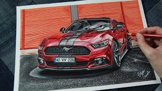 FORD MUSTANG Ruby Red | Realistic Car Drawing