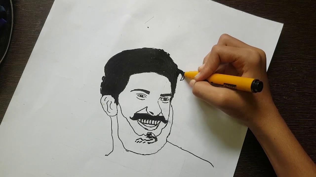 Drawing Dulquer Salmaan - YouTube