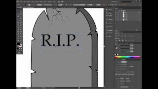 How to draw halloween grave in Adobe Illustrator - easy tutorial