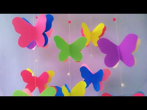 How to Make Beautiful Wind Chime for Room Decoration | Paper Butterfly Wall Decoration