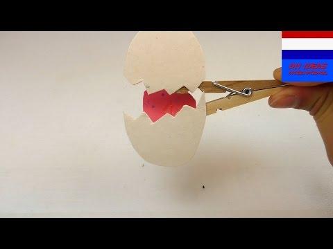 """Knutselidee """"vogel in ei""""  / met wasknijper / heel eenvoudig zelf te maken / handleiding"""