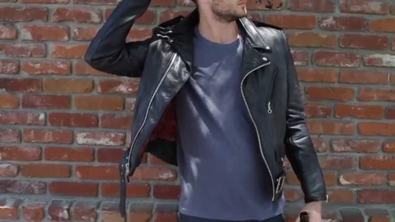 Flannel Motorcycle Jacket >> Schott NYC Perfecto Leather Jacket - Details - YouTube
