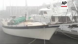 Tropical wind batters boats in New Bern, North Carolina