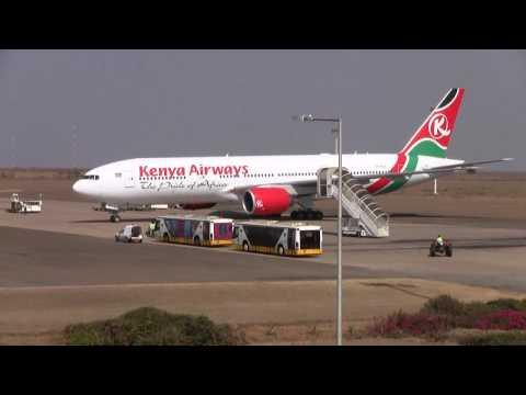 Take-off from Lilongwe, Malawi. Kenya airways, Boeing 777-200