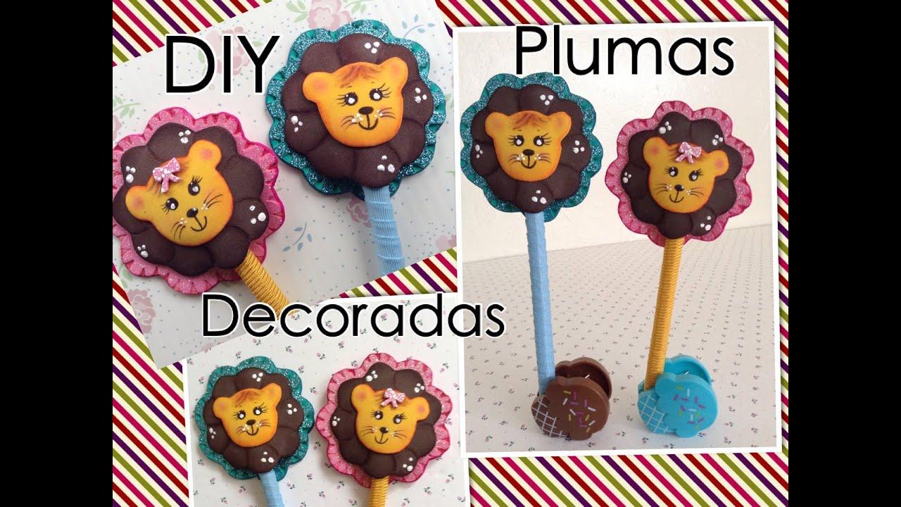 Pluma decorada con leoncito de foamy o goma eva youtube - Plumas para decorar ...