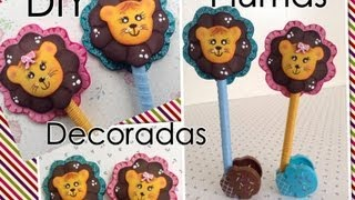 Repeat youtube video PLUMA DECORADA CON LEONCITO DE FOAMY O GOMA EVA .