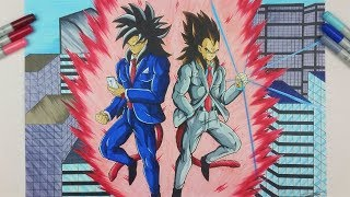 Drawing Goku & Vegeta SSj4 in a Suit!   TolgArt