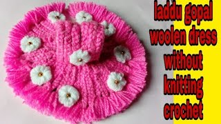 Without crochet and knitting woolen dress for laddu gopal/ Easy winter dress bal gopal