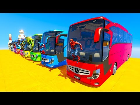 LEARN COLOR giant BUS jump cartoon for kids and babies 3D an