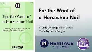For the Want of a Horseshoe Nail (TBB, Piano) - Jean Berger