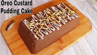 Oreo Biscuits Custard Pudding Cake  Eggless &amp Without Oven  Pudding Recipe  Agar Agar Roti Tawar