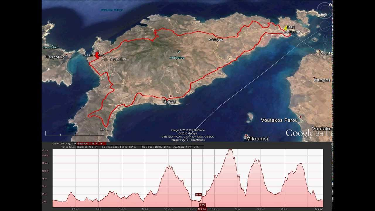 Antiparos Ultra 100 Race - Route & Altitude(30km) - Google Maps