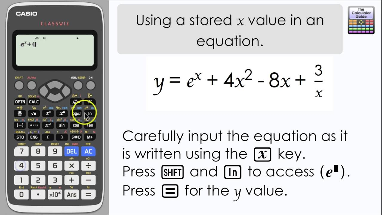 Casio Clwiz Using A D Value Of X In An Equation Calculator Fx 991ex Level Maths